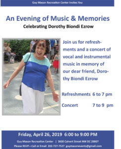 An Evening of Music & Memories:  Celebrating Dorothy Biondi Ezrow @ Guy Mason Recreation Center
